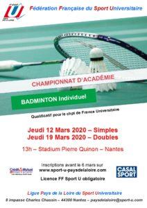 Badminton (simples) @ Stadium Pierre Quinon à Nantes | Nantes | Pays de la Loire | France